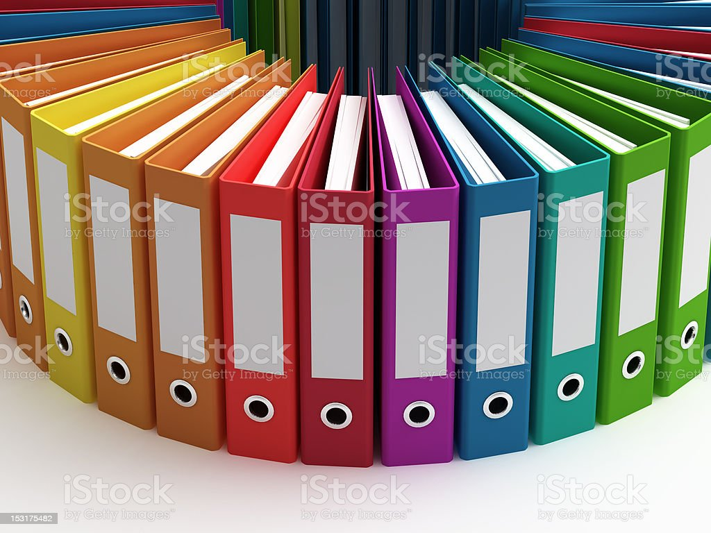 Assorted ring binders in different colors stock photo