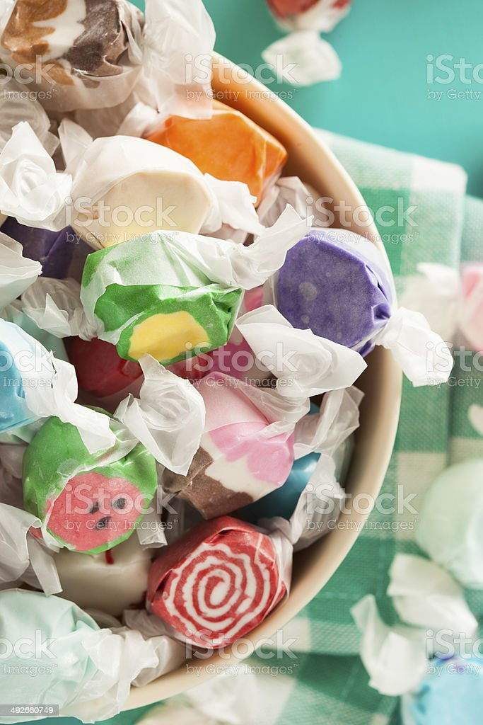 Assorted Saltwater Taffy on a Background stock photo