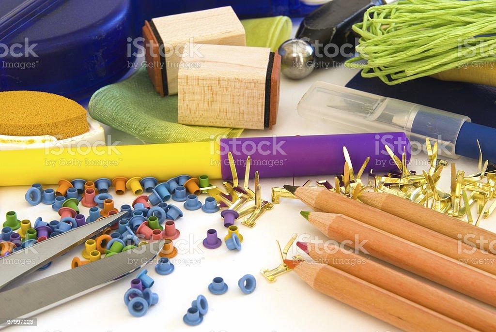 Assorted scrapbooking supplies stock photo
