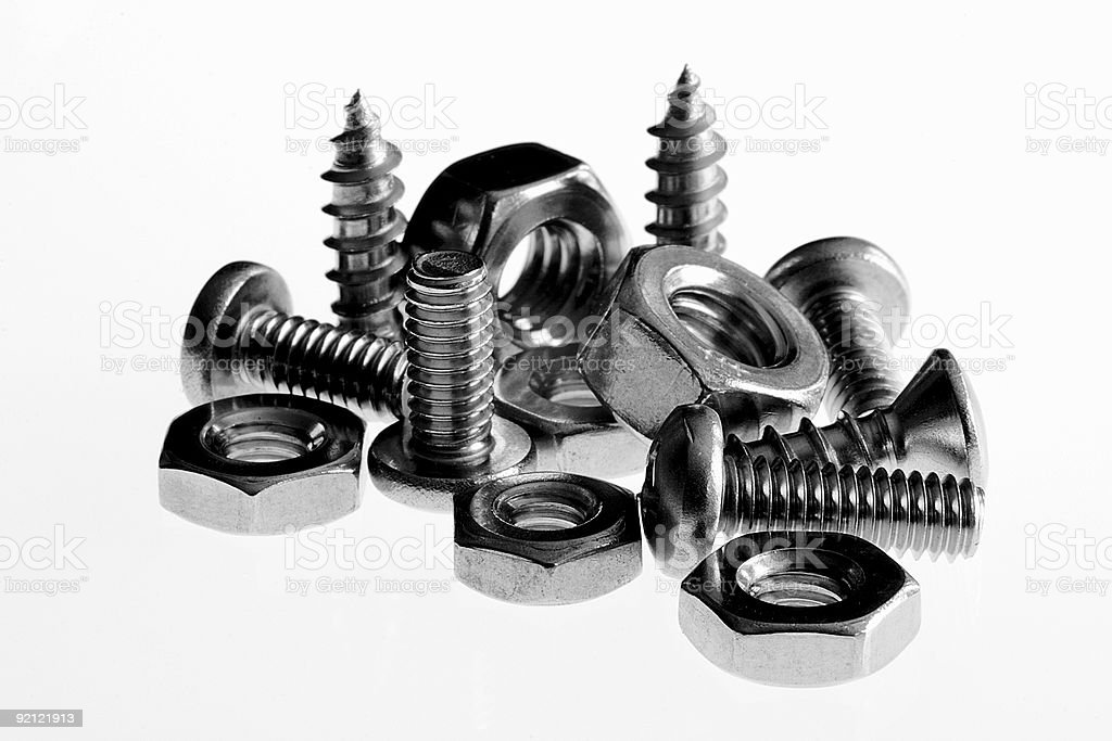 assorted screws and nuts royalty-free stock photo