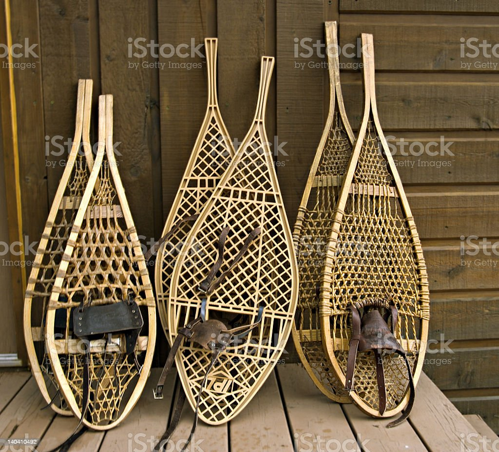Assorted snowshoes royalty-free stock photo