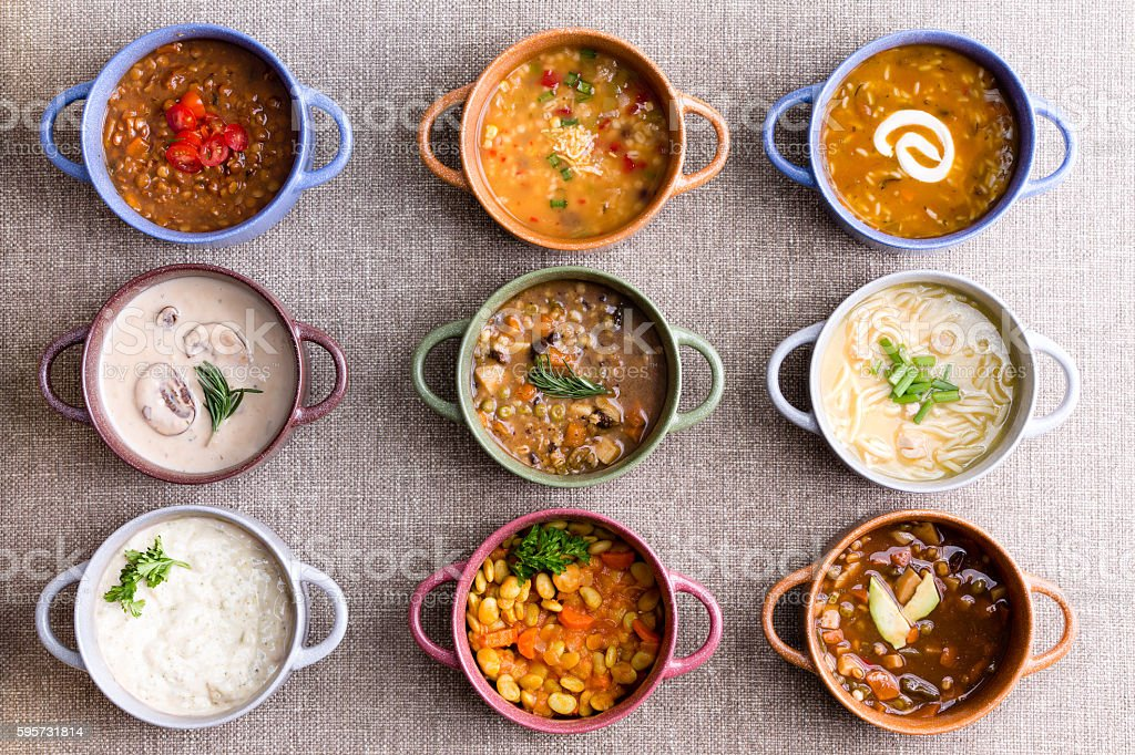Assorted soups from worldwide cuisines stock photo