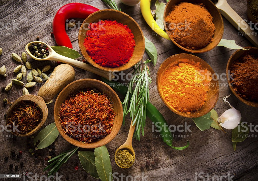 Assorted spices royalty-free stock photo