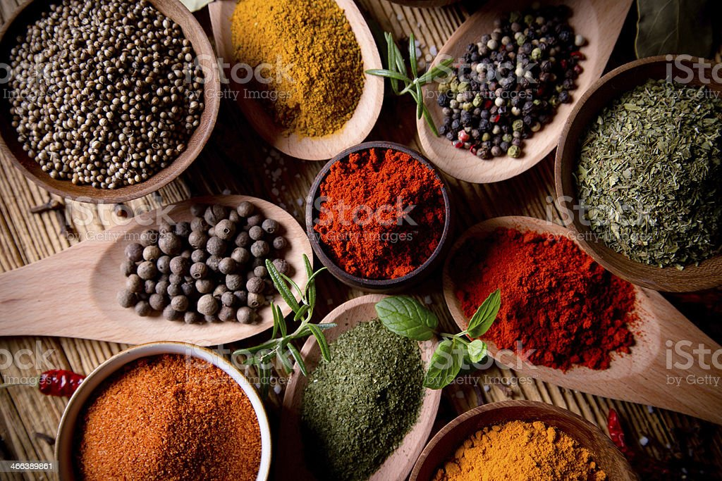 Assorted spices stock photo