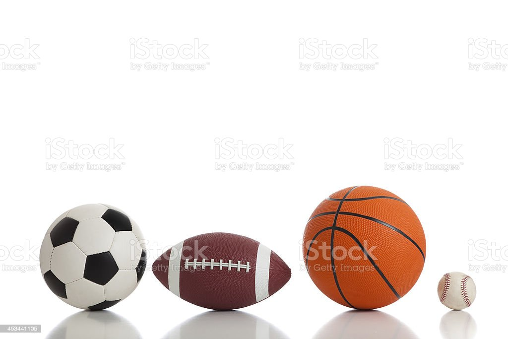 Assorted Sports Balls on White royalty-free stock photo