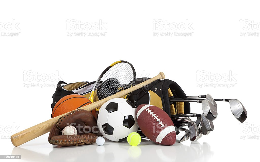 Assorted sports equipment on a white background royalty-free stock photo