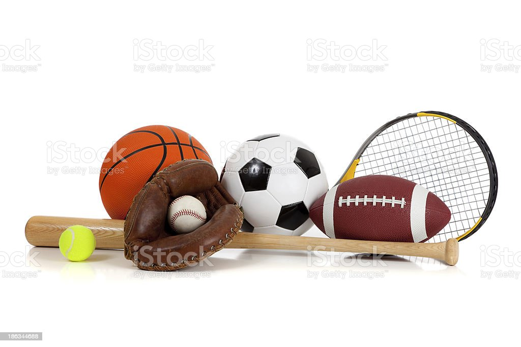 Assorted sports equipment on white stock photo