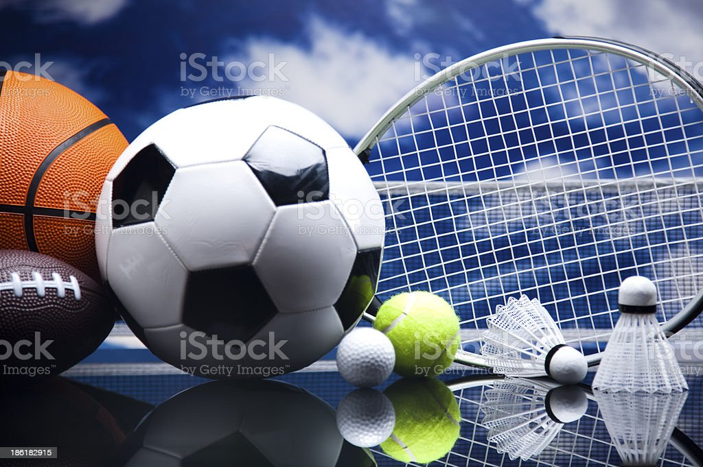 Assorted sports equipment royalty-free stock photo