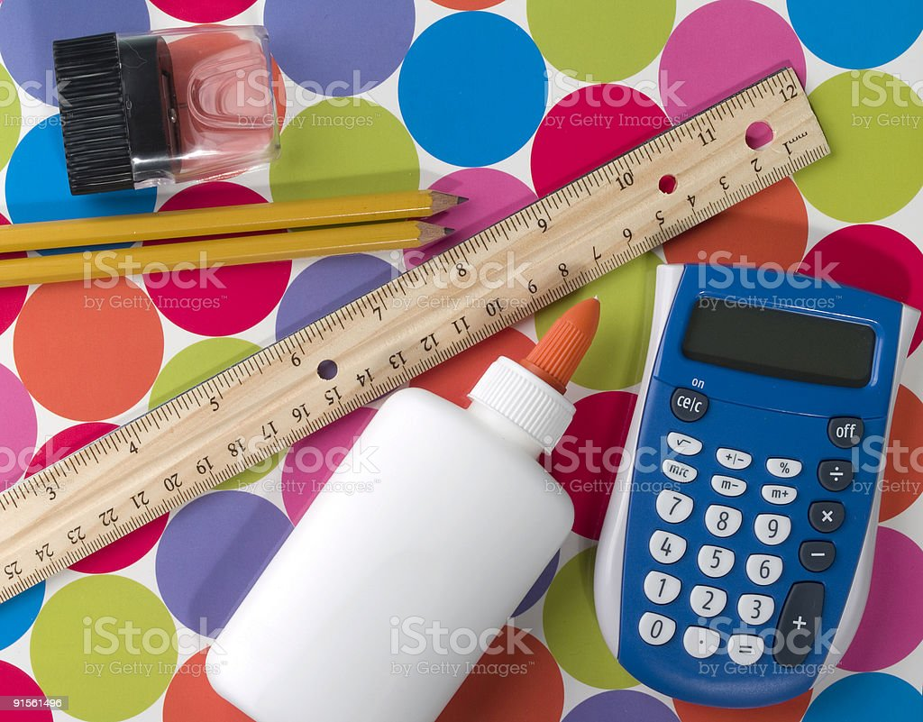Assorted Supplies for School royalty-free stock photo