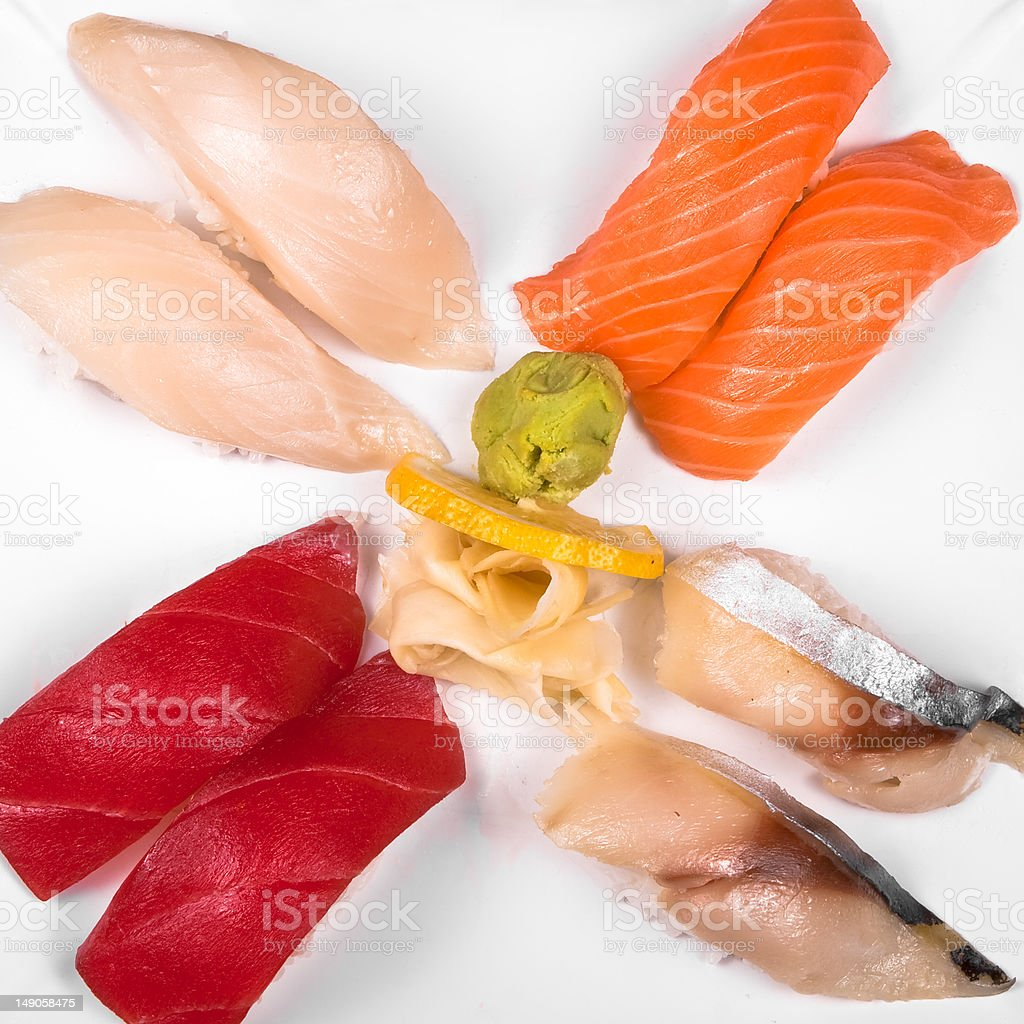 Assorted sushi plate royalty-free stock photo
