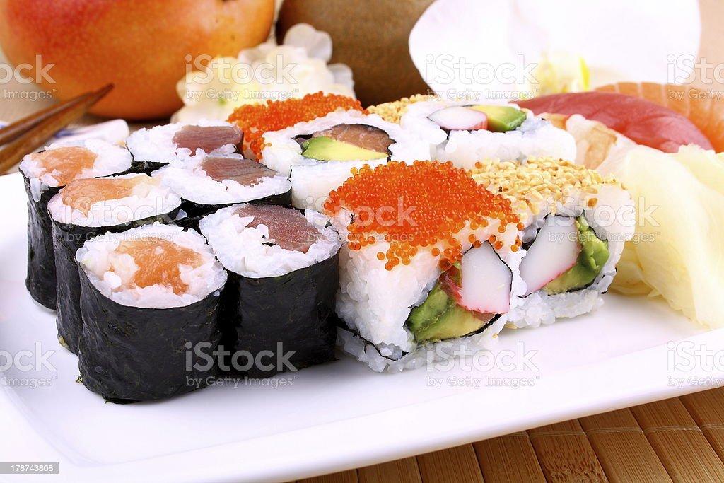 Assorted sushi, wasabi and chopsticks royalty-free stock photo