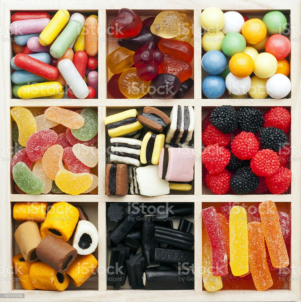assorted sweets in a square shadow box royalty-free stock photo