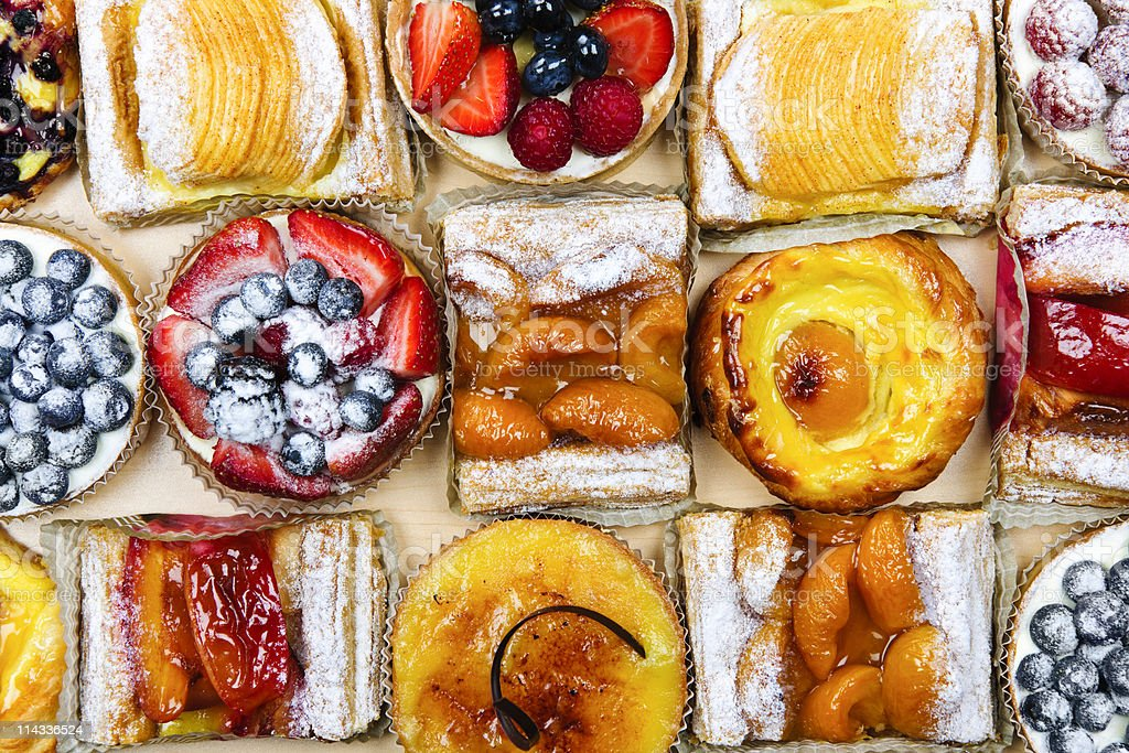 Assorted tarts and pastries stock photo