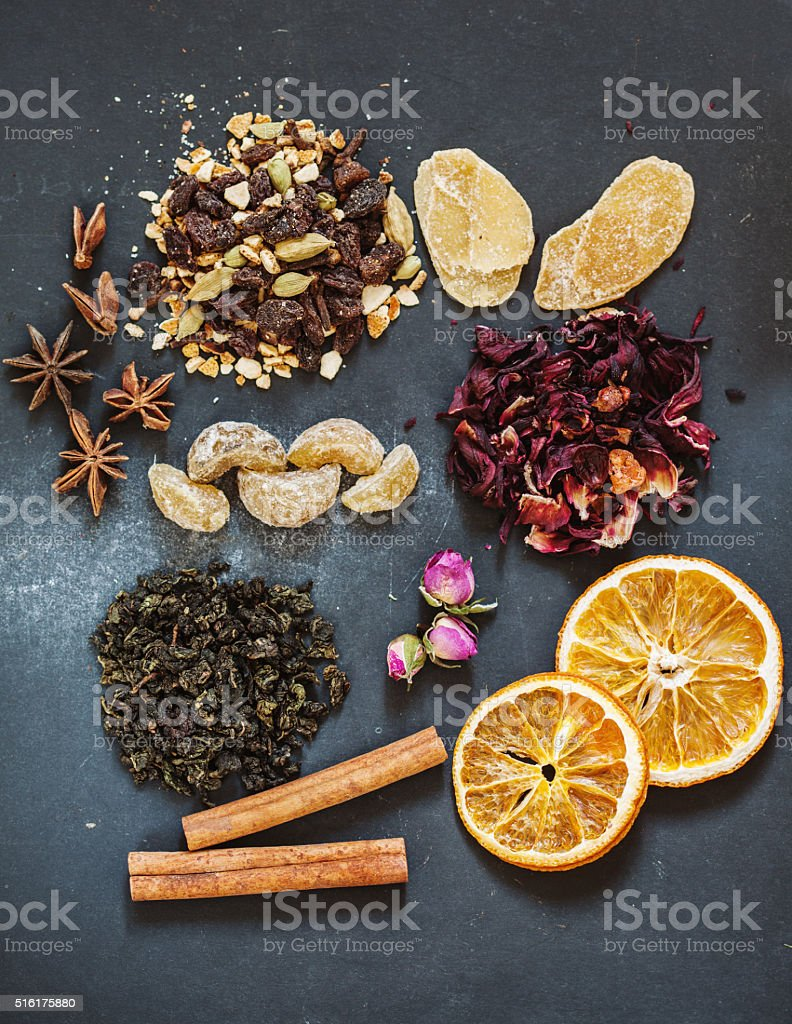 Assorted teas with different spices stock photo