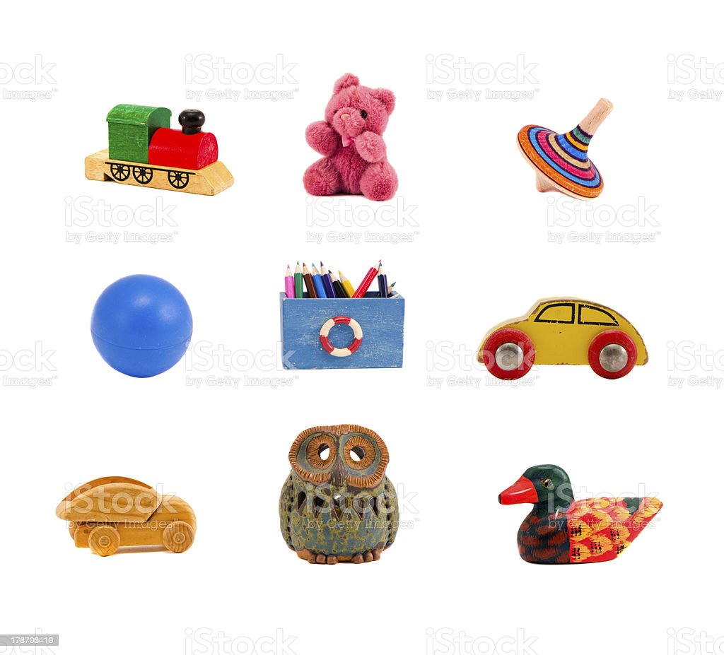 assorted toys collection isolated on white stock photo