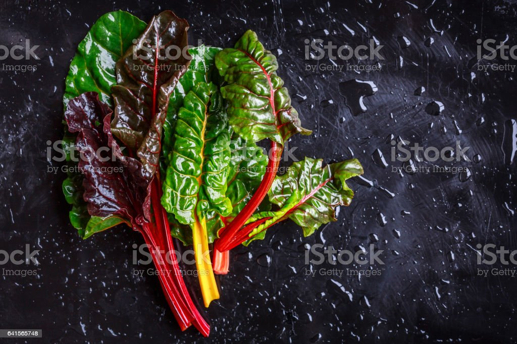 Assorted varieties of chard stock photo