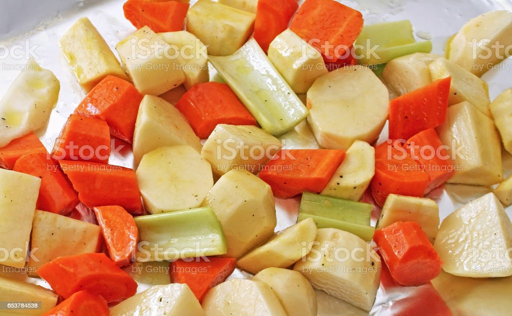 Assorted vegetables seasoned and ready for Roasting stock photo
