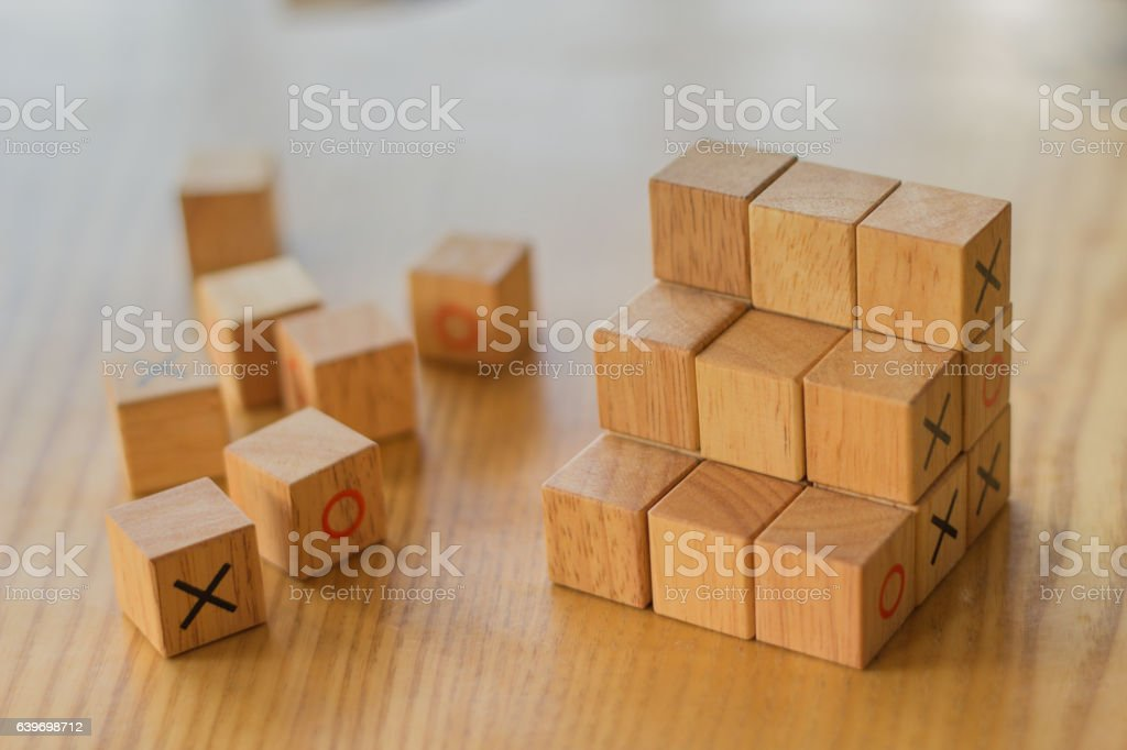 Assorted wooden blocks used to create a staircase to success stock photo