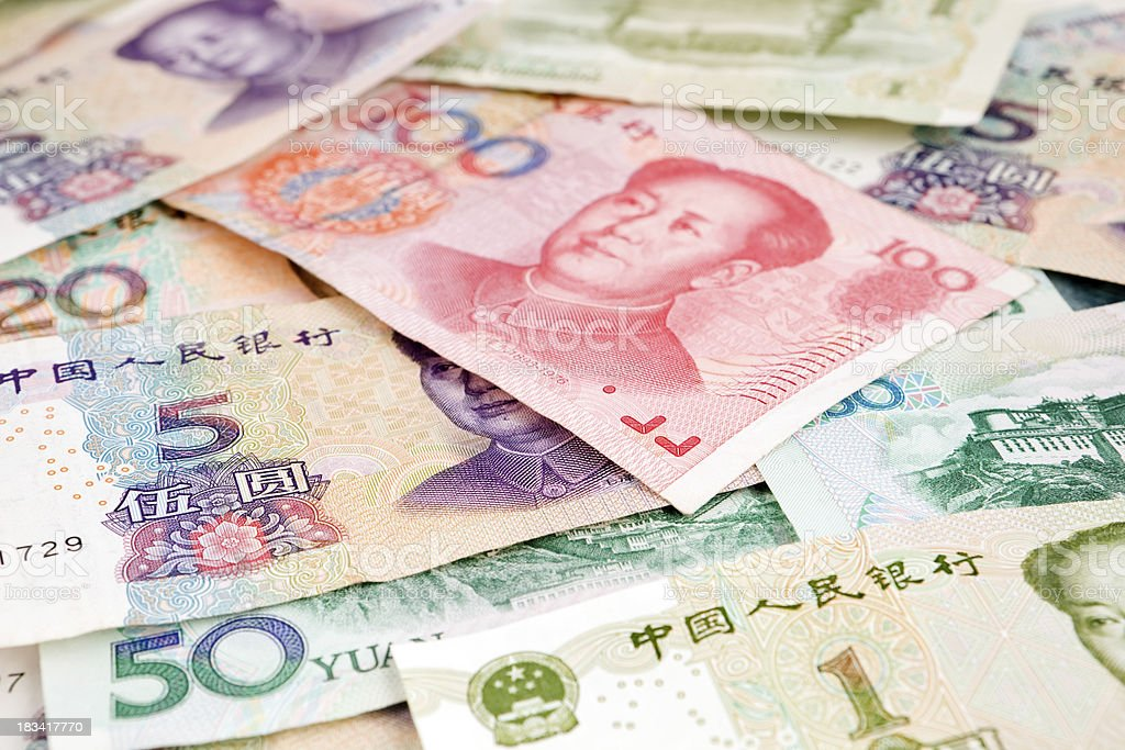 Assorted Yuan Denominations of Chinese Renminbi stock photo