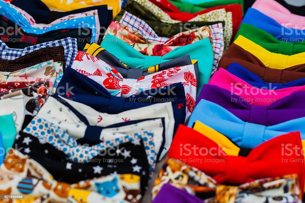 Assortment bow ties for hipsters handmade. Any decent hipster likes stock photo