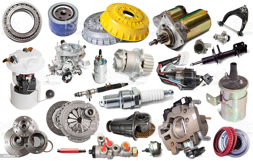 assortment car parts isolated stock photo