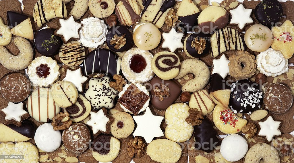 Assortment christmas cookies studio shot horizontal from above stock photo