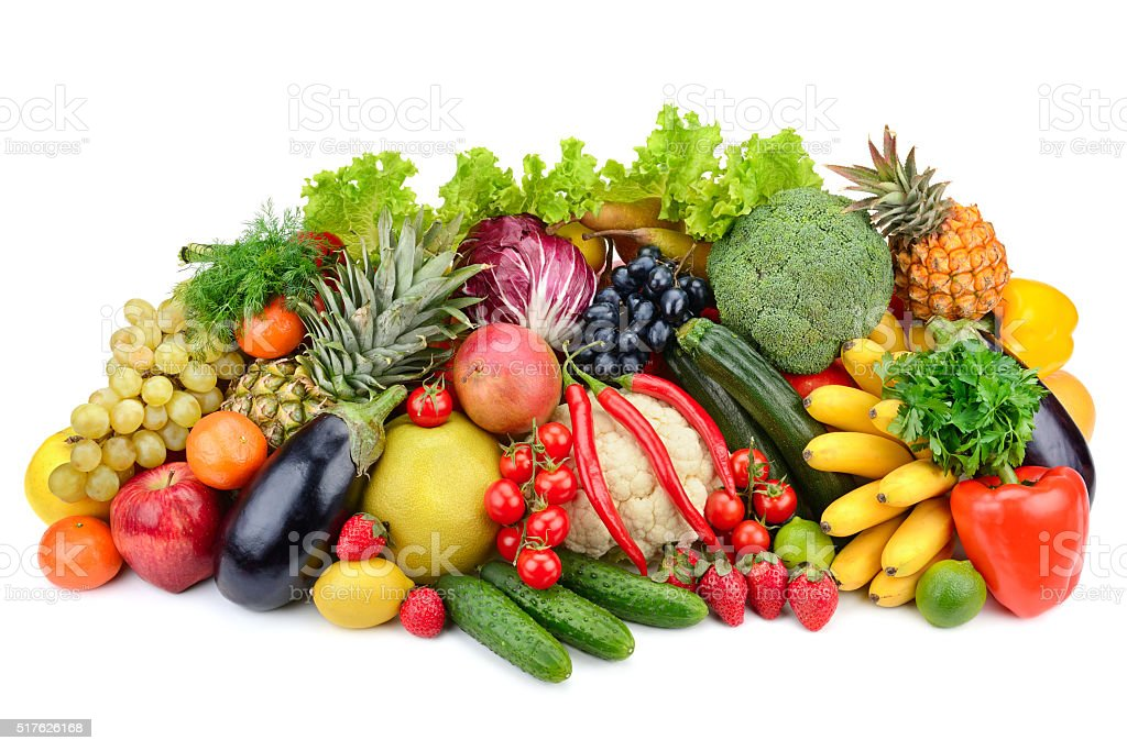 assortment fresh fruits and vegetables stock photo