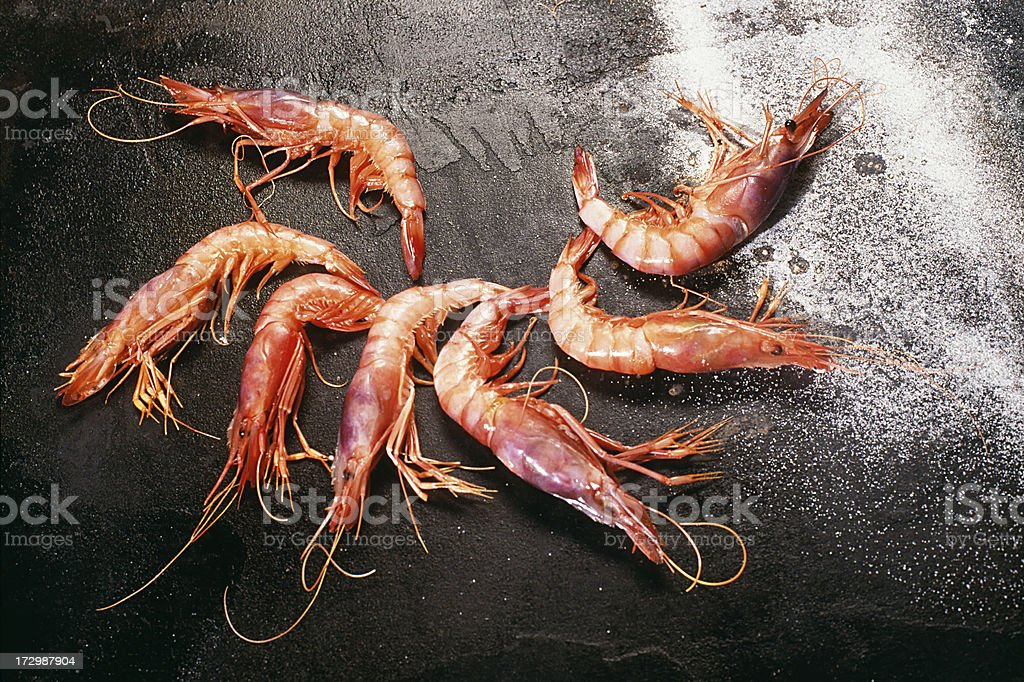 Assortment of 7 Shrimps stock photo