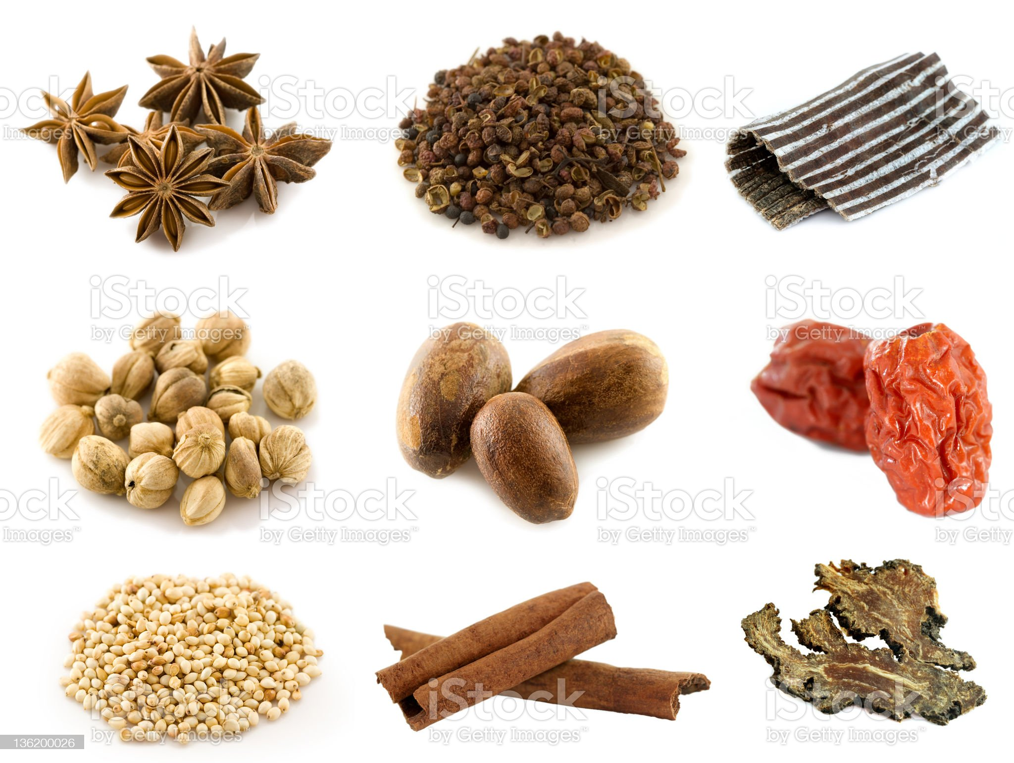 Assortment of Asian spices, Isolated on white royalty-free stock photo