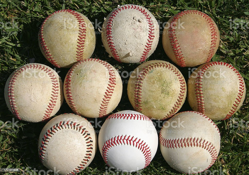 Assortment of baseballs royalty-free stock photo