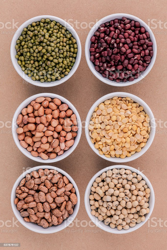 Assortment of beans and lentils . stock photo