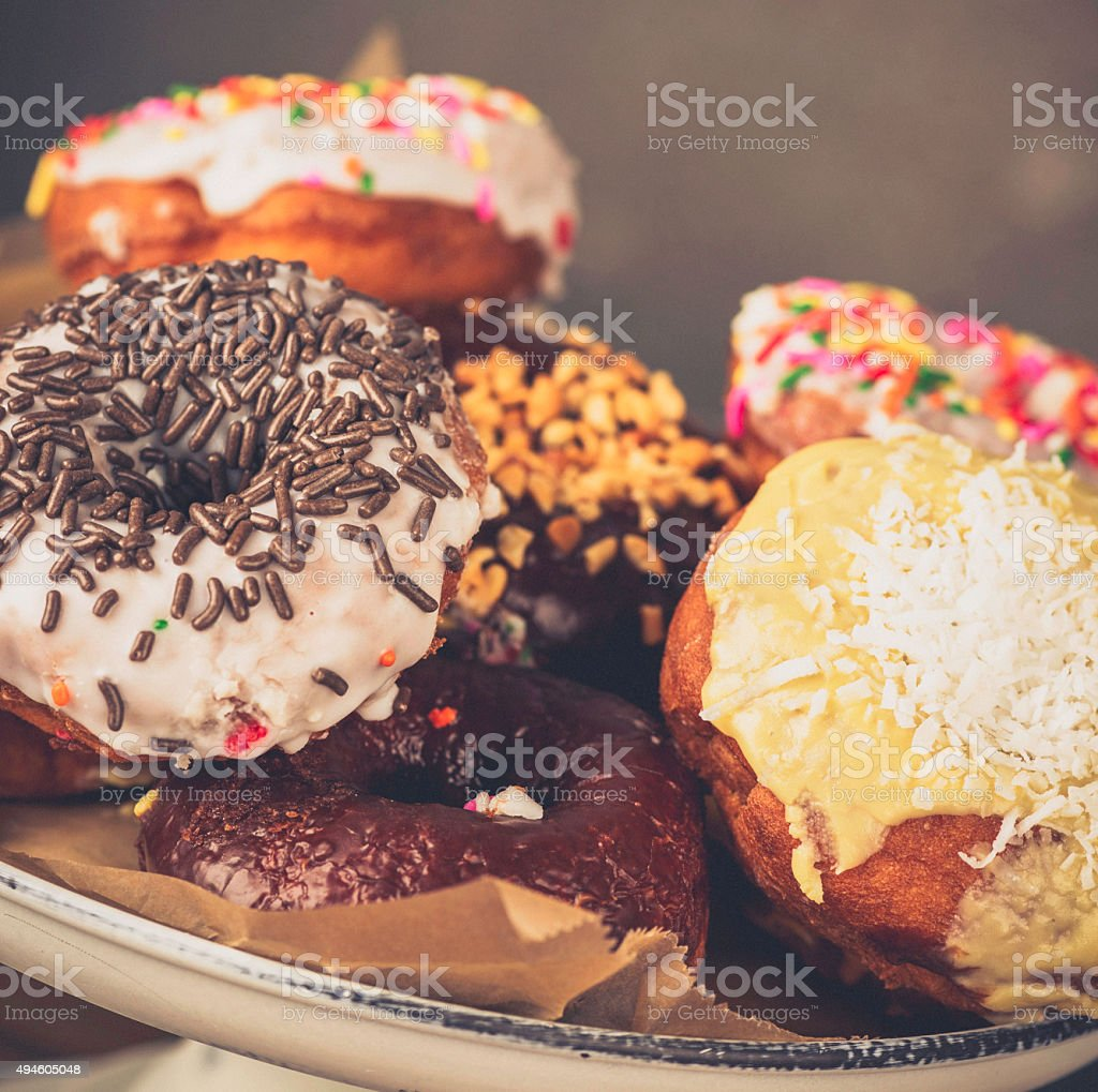 Assortment of Breakfast Donuts stock photo