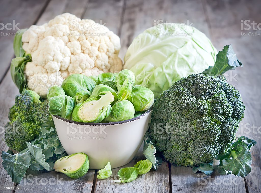 Assortment of cabbages stock photo