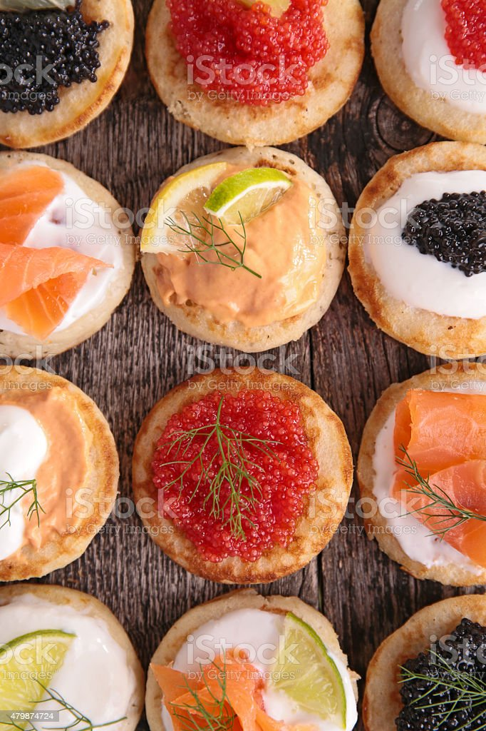 assortment of canape stock photo