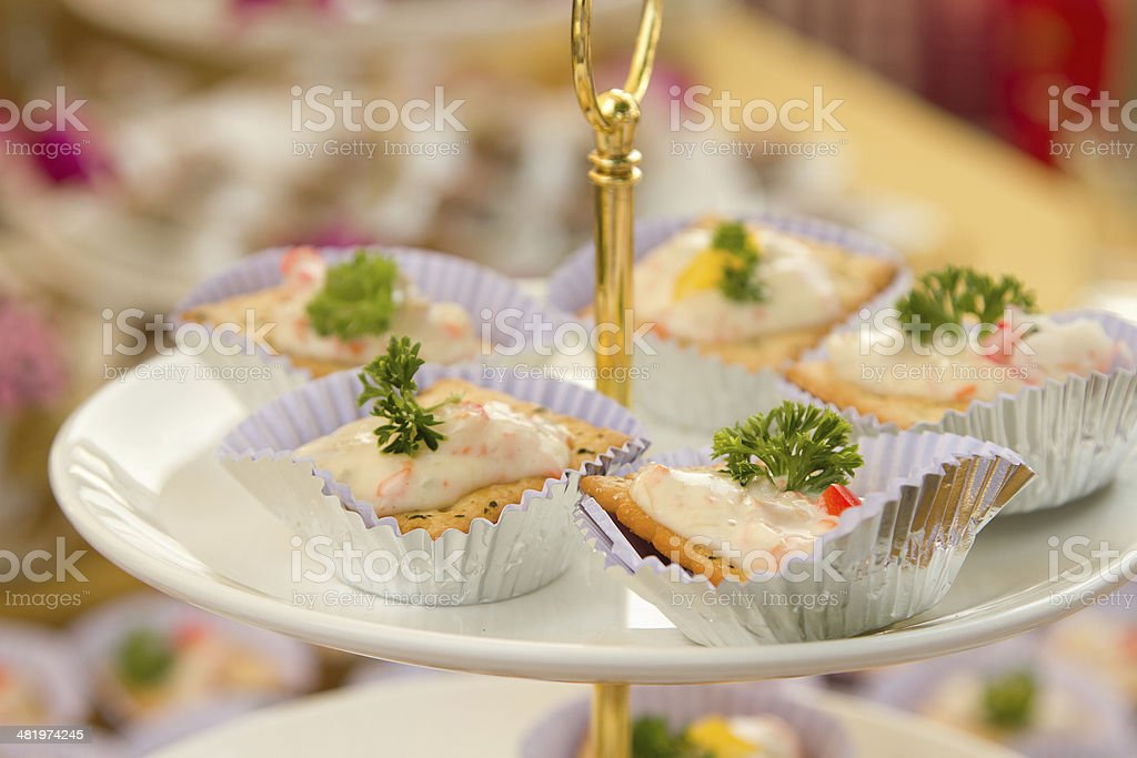 assortment of canapes stock photo