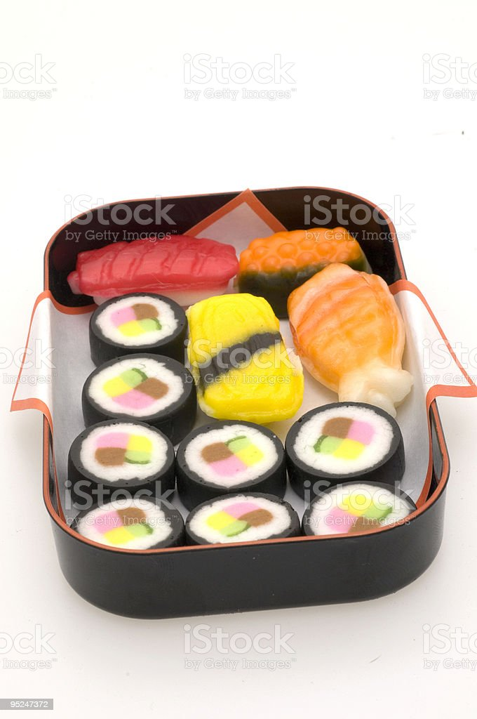 Assortment of Candy Sushi in a Tin Containter royalty-free stock photo