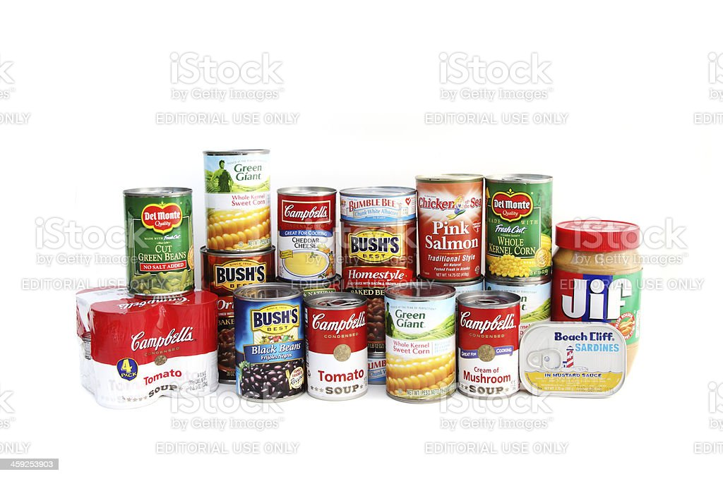 Assortment of canned foods stock photo