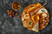 Assortment of cheese with wine, honey, nuts and grape