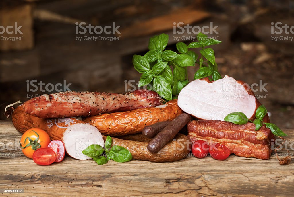 Assortment of cold meats, variety of processed cold meat products stock photo