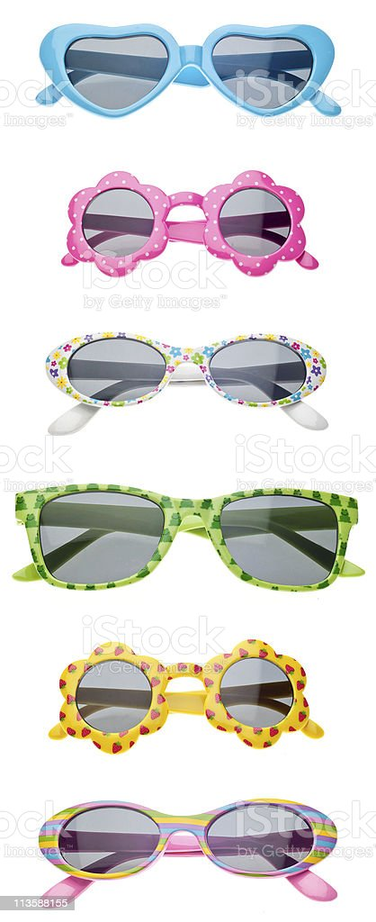 Assortment of colorful child sunglasses on white background royalty-free stock photo