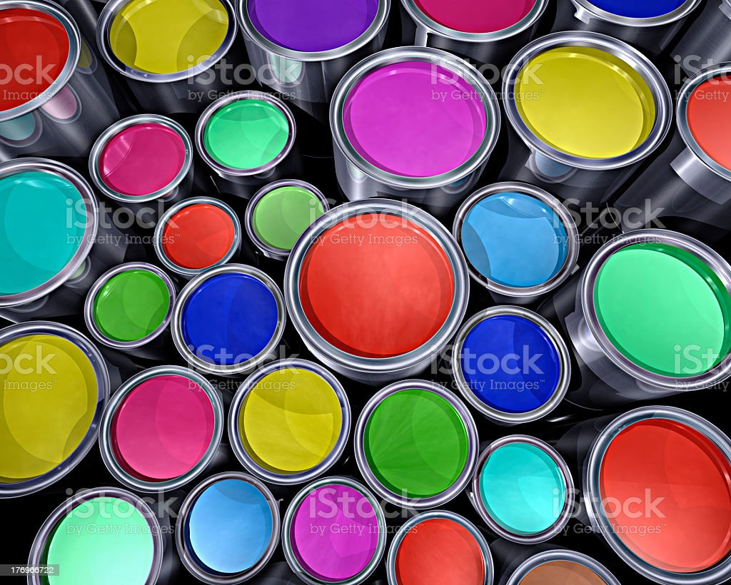 assortment of colorful paint cans stock photo