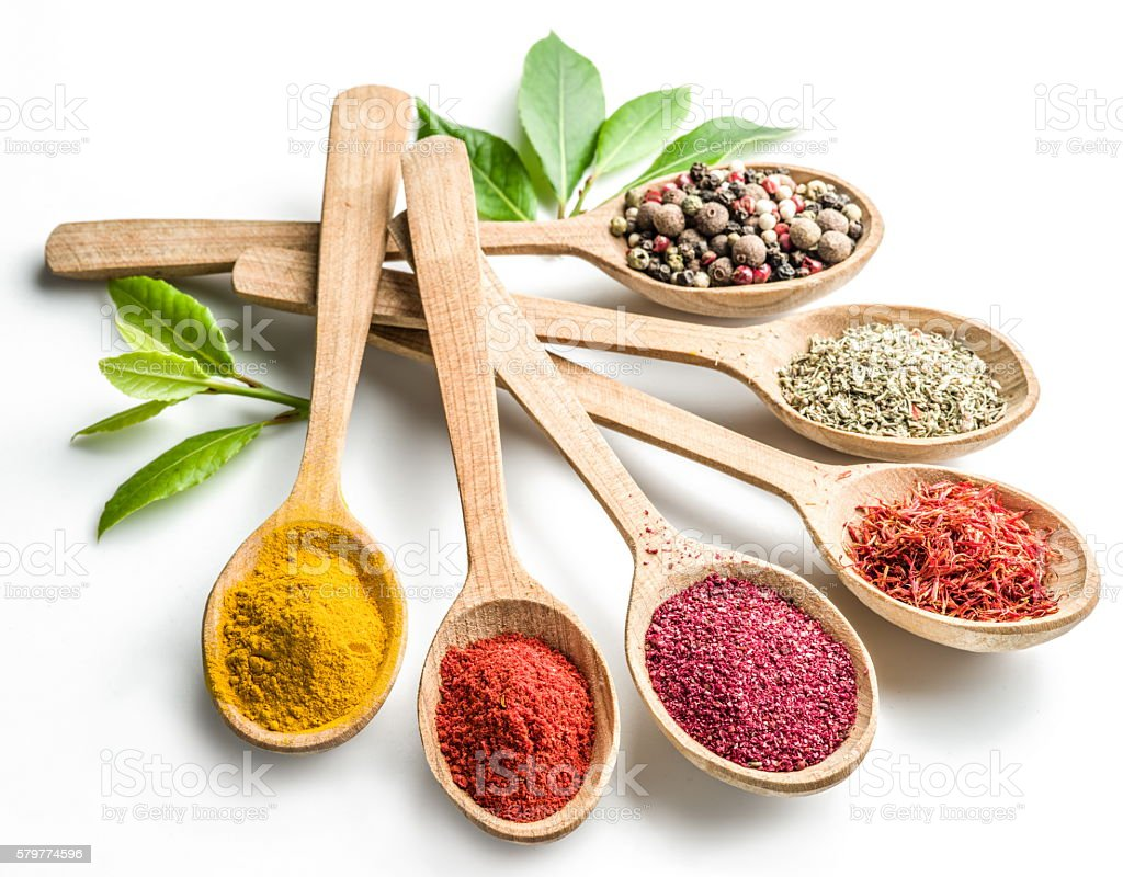 Assortment of colorful spices. stock photo