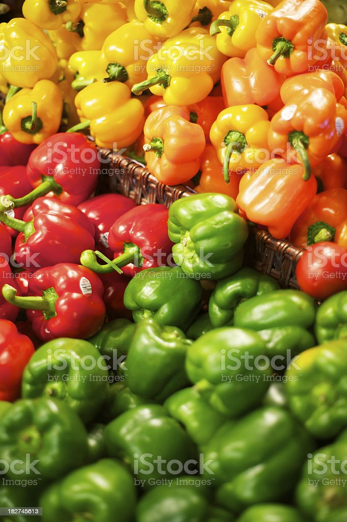 assortment of colorfull bell peppers royalty-free stock photo