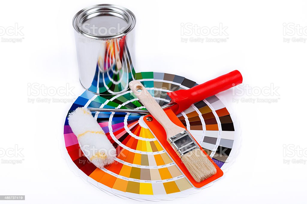 assortment of colors with  paint can stock photo