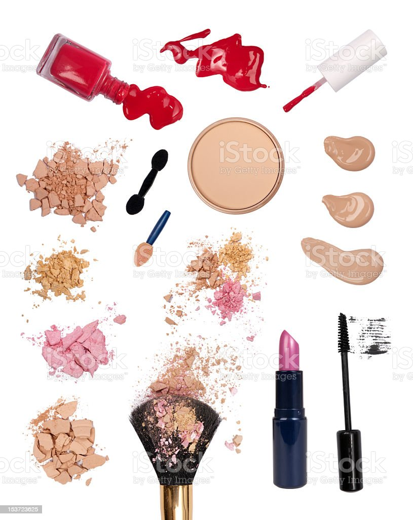 Assortment of cosmetics and beauty products stock photo
