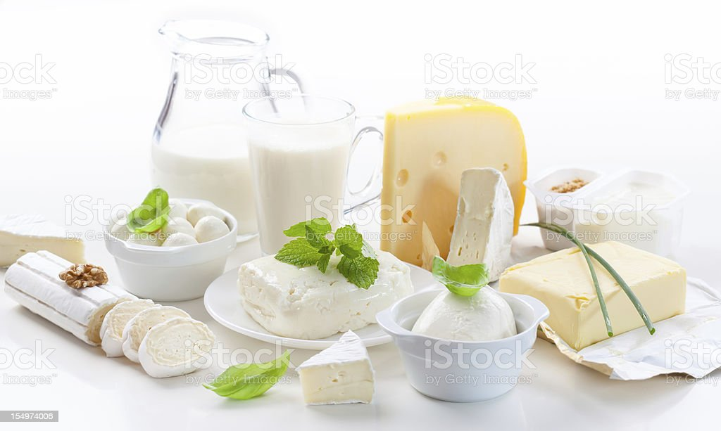 Assortment of dairy products stock photo