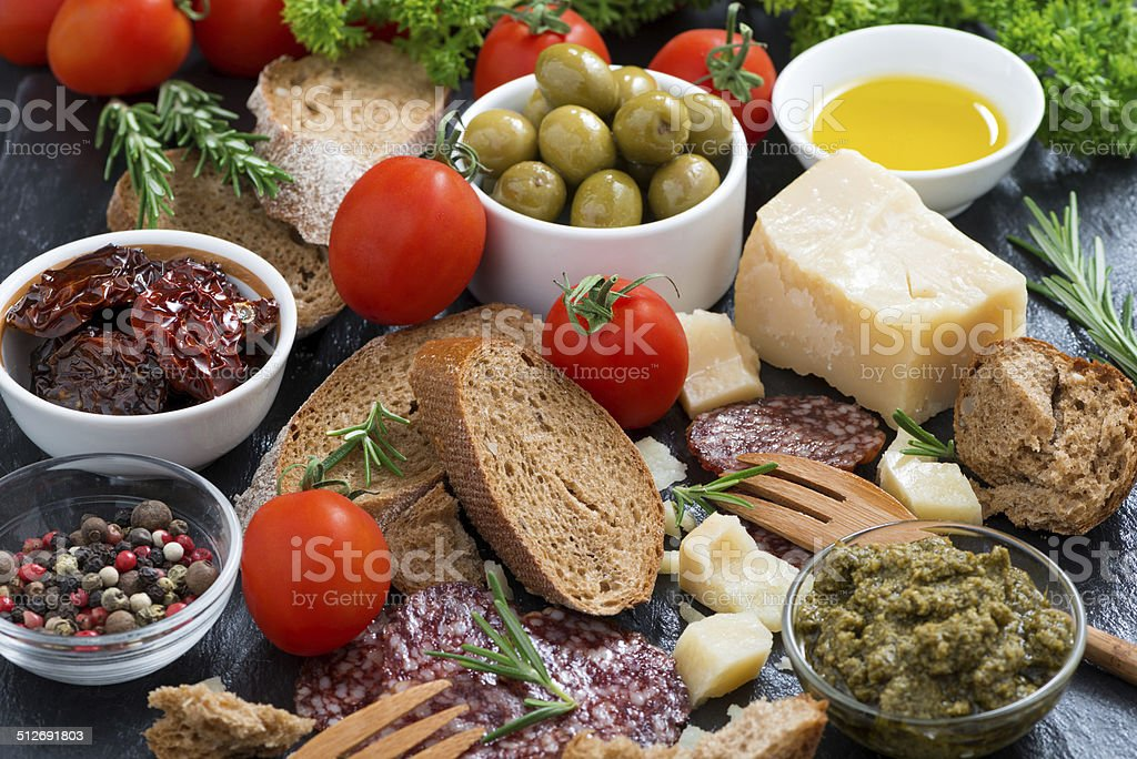 assortment of delicious antipasti stock photo