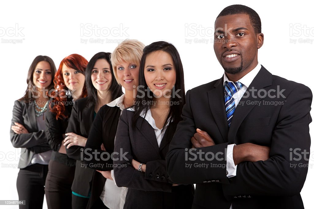 Assortment of different confident people in business suits stock photo