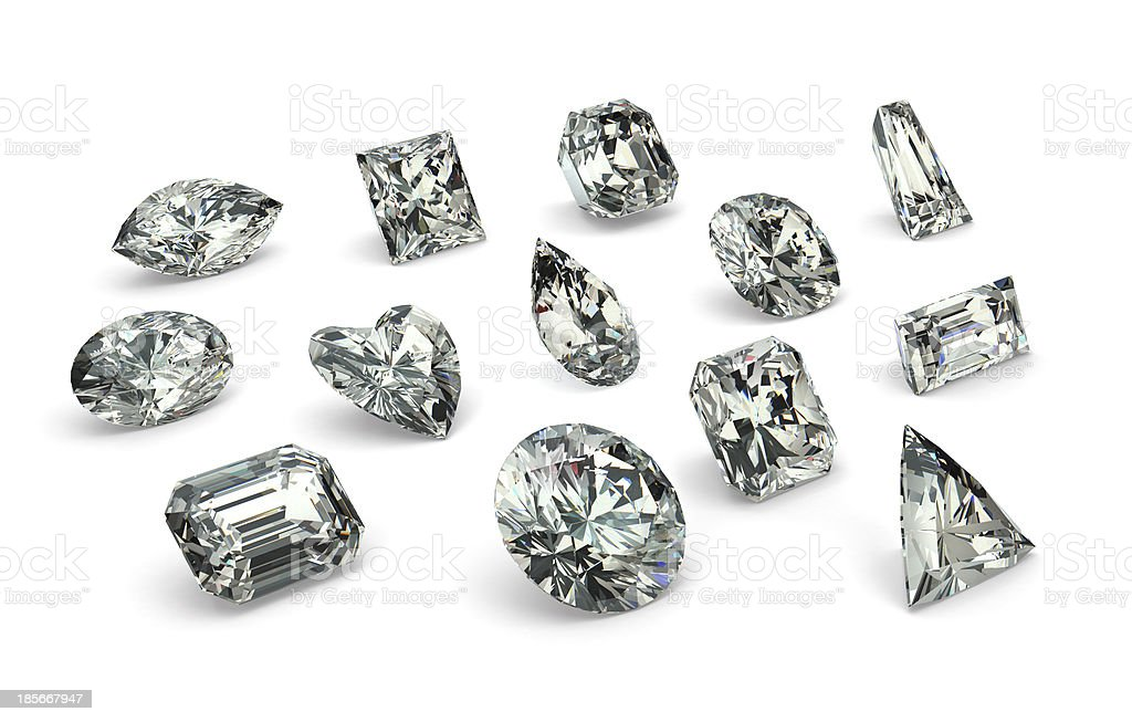 Assortment of different diamond cut styles on white stock photo
