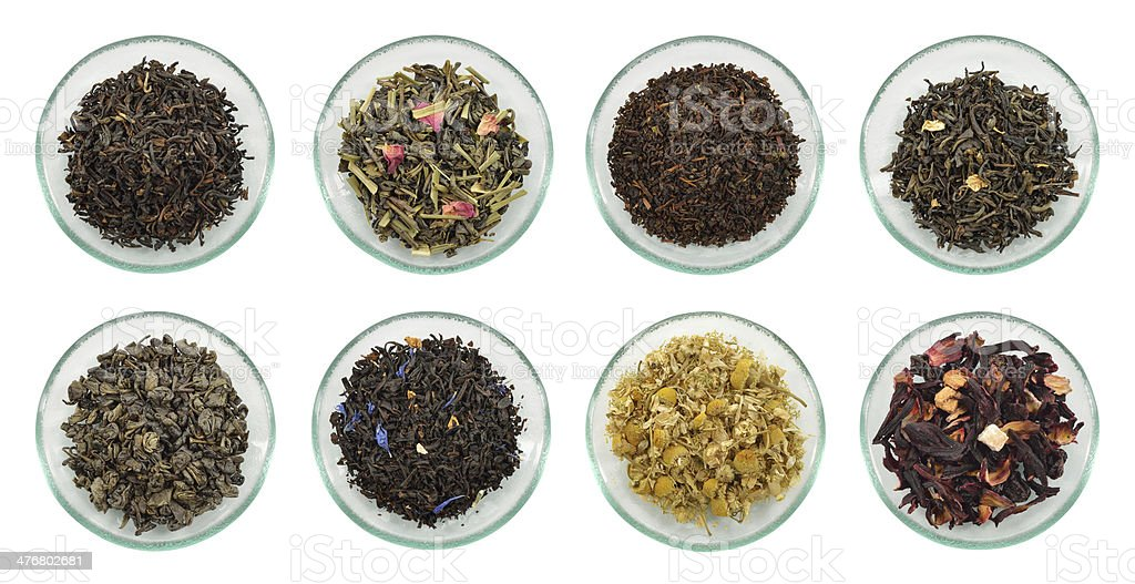 Assortment of dried tea leaves. stock photo